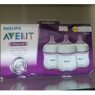 MADE IN ENGLAND Philips Avent natural feeding bottle 4oz 3pk