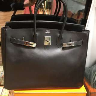 正品 90%新 Hermes Birkin 35 黑色Box 皮銀扣 罕有!