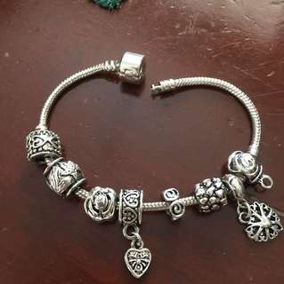 Pandora Inspired Bracelet with 8 charms