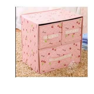 Kotak penyimpanan  3 laci lucu murah dapat dilipat - HPR064