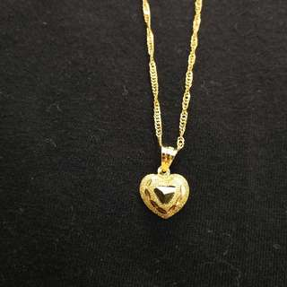 Heart with Engraved Diamond Design -18K Gold