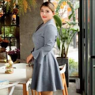 🚚 2018春加大尺碼女裝復古條紋加肥氣質顯瘦連衣裙