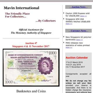 Upcoming Singapore numismatic auctions