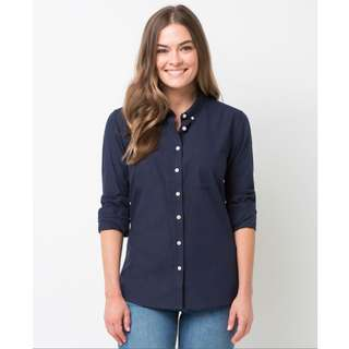 Women's Smith Oxford Shirt - Navy Blue (Made in Australia)