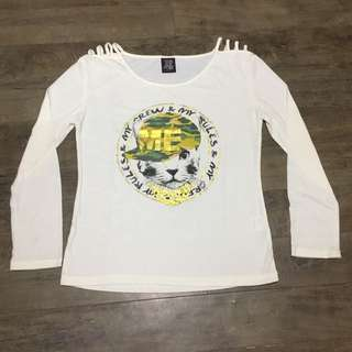 Long Sleeves Cat White Top
