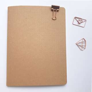 Kraft Paper Cover Dot Grid Bullet Journal / Notebook / Diary / Organiser / Planner Rose Gold Paper Clips and Pins