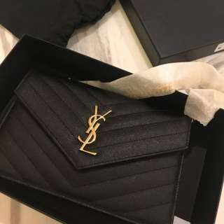 Brand New YSL Small Wallet on Chain in Black with GHW