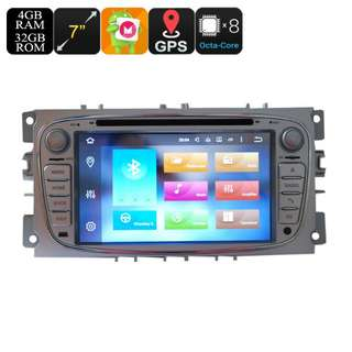 Ford 2 Din Car DVD Player - 7 Inch Screen, 3G, 4G, Android 6.0, Octa-Core, 4+32GB, Can Bus, Bluetooth, GPS, Wi-Fi (CVAIO-C590)