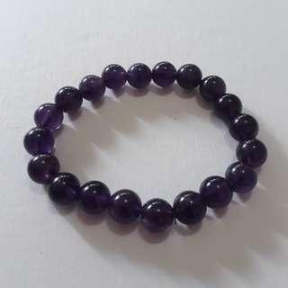 Uruguay Amethyst bracelet (乌拉圭紫晶手链). Bead size 10mm. Wrist size 19cm+.