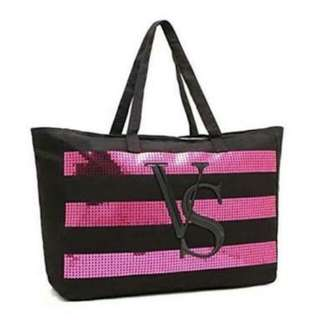 Victoria Secret Tote Canvas with Sequins Stripe Limited ED