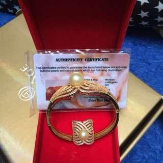 Mutiara asli air laut lapis emas gelang dan cincin