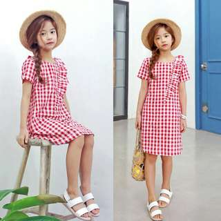 [INSTOCK] FRILLED RED CHECKERED DRESS - ADULT SIZE AVAILABLE