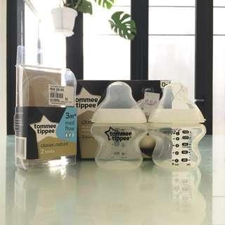 TOMMEE TIPPEE Closer To Nature: 2 Nursing Bottles 150ml/5oz & 2 Teats 3m+ Med Flow