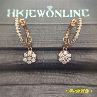 18K玫瑰金鑽石耳圈
