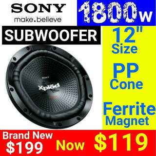"SONY SUBWOOFER - SONY 12""/ 30cm Subwoofer Speaker 1800 Watts Peak Power with Dimpled polypropylene Cone  Usual Price: $199 Special.offer: $119. (Brand new in box & Sealed). Whatsapp 85992490  to collect  today."
