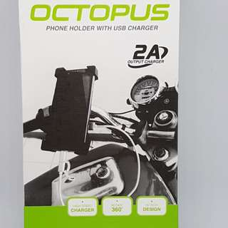 Motorcycle holder with charging capability.