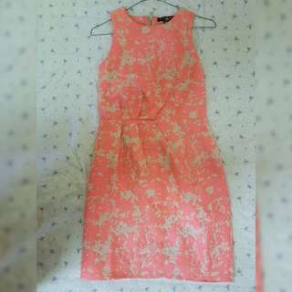 Coral Pink Print Sheath Dress