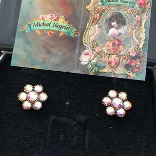 Michal Negrin Crystal Flower Earrings