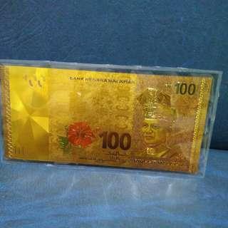 Mayasia RM100 gold foil (color)