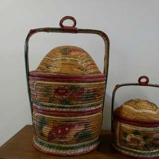 Vintage 2 Tiers Rattan Basket