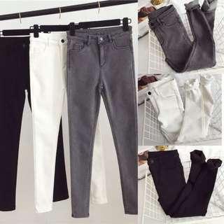 秋冬季新款韓版煙灰色緊身外穿黑色加絨加厚牛仔褲小腳九分褲子女