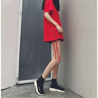 RED LACE UP TSHIRT DRESS