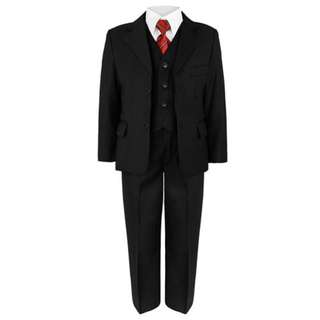 Luxury 5Pcs Little Boy/Man Stripes Coat Vest Set with Tie- Black 8-16y