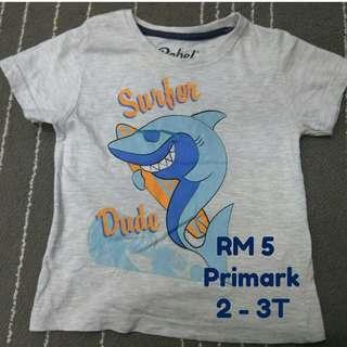 Primark T-Shirt for Boy, 2 - 3T (Preloved)