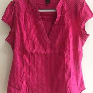 H&M pink plus size blouse