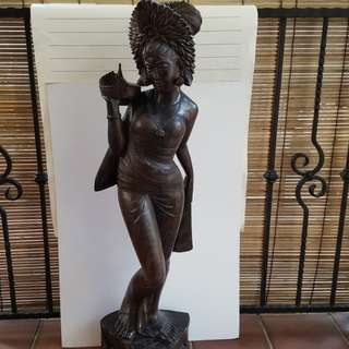 Antique Blackwood Sculpture of Lady