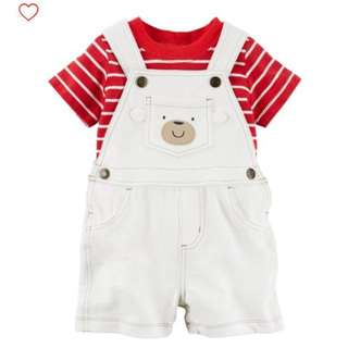 Brand new carters overalls set - white jumper with red stripe tee, size 24m