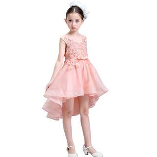 Pretty and Elegant High-low Lace Flower Girl Birthday Dress Gown Peach
