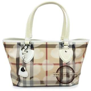 Authentic Burberry White Leather Trim Valentine Tote
