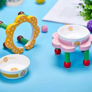 Washable Pet Products For Small Dog Japanese Pet Ceramic Bowl Petals Small Dogs Food Bowl Dog Cat Cute Bowl