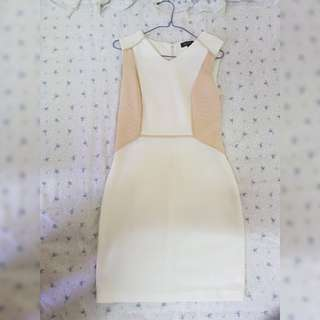 White Beige Fitted Short Sleeved Sheath Dress