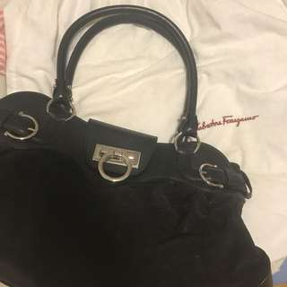 Black Suede Ferragamo bag