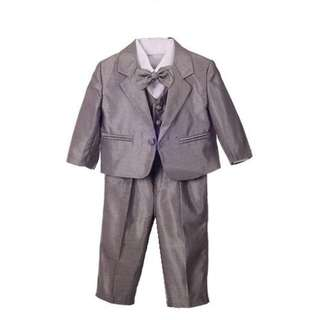 Luxury 5Pcs Little Boy Coat Vest Set with Bow Tie - Grey 1-4y