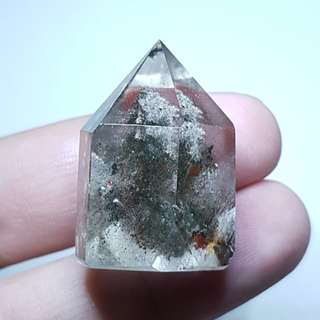 Cute Standing Point Clear Quartz Lodolite / Inclusion Quartz Crystal 幽灵白水晶 for the Year of the Dog, green phantom is for those born in the year of the rat, ox, tiger, rabbit, dragon, monkey