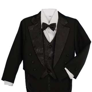 Boys' 5 Pieces Formal Gold Vest Tuxedo Suit With Tail Christening Outfit 1-4y