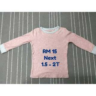 Next T-Shirt (Long Sleeve) for Boy, 2T/24M (Preloved - RM15)