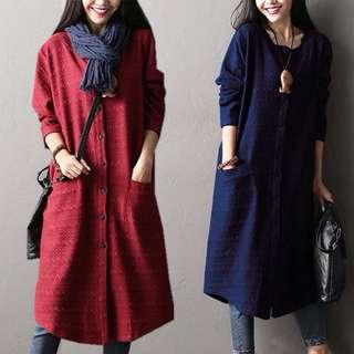 (M~2XL) Long-sleeved retro cardigan coat cotton long-sleeved trench coat