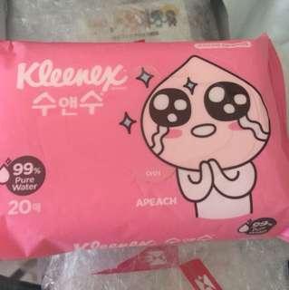 Sealed Instock Kakao Friends Apeach Kleenex wet tissue 99% pure water