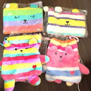Brand New Fluffy Cute Zipper and Drawstring Pouches