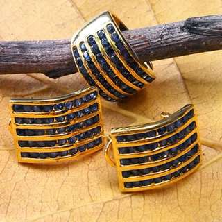 Set Vintage Gold Pleated Earrings and Ring