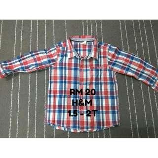H&M long sleeve shirt for boy (Preloved - RM20)
