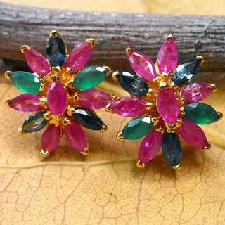 Gold Plated Earring with Multicolored Crystal name LADY