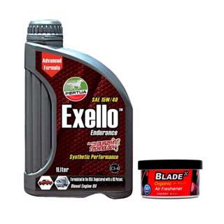 Pertua Exello Synthetic Performance Diesel Engine Oil SAE 15W/40 1L +  Blade Organic Air Freshener Cherry
