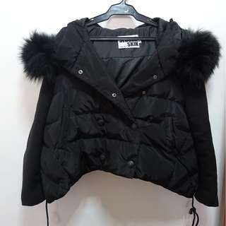 Black Winter Coat with Faux Fur