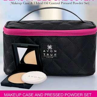 Makeup case and pressed powder set