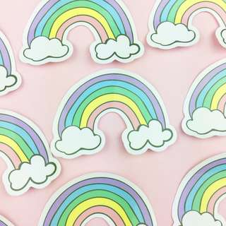 Lunarbay 3 x Rainbow Vinyl Sticker Laptop Decal (Pack of 3) / Cute Vinyl Stickers / Stationery